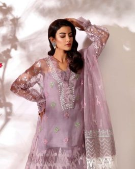 ODEL by Shurooq Stitched Embroidered 3 Piece Suit