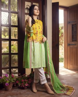Lime Green 2PCs Unstitched Lawn